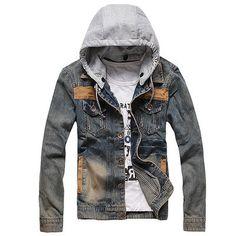 Mens Vintage Classic Denim Hooded Jean Jacket Hoody Coat Detachable Cap | eBay