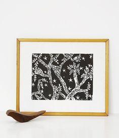 evening trees linoleum block print 11 x 14 wall