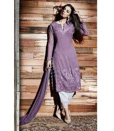 Buy Purple georgette embroidered semi stitiched salwar with dupatta party-wear-salwar-kameez online