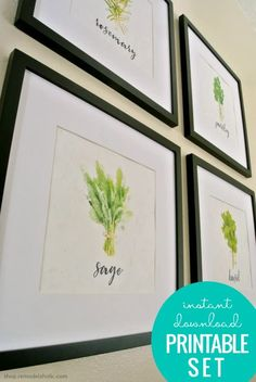 Decorate your walls with these Kitchen Herb Wall Art Printable Set via shop.remodelaholic.com #printables #kitchendecor #kitchendecor #printables Printable Set, Art Print Set, Herb Art, Kitchen Herbs, Colorful Prints, Herb Wall, Printable Wall Art, Kitchen Wall Decor, Herb Prints