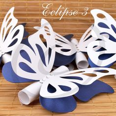 Butterfly theme wedding / baby shower / christening invitations - white and blue / scroll wedding invitations Mais Butterfly Wedding Theme, Butterfly Wedding Invitations, Scroll Wedding Invitations, Butterfly Party, Butterfly Birthday, Baby Birthday, Christening Invitations, Baby Shower Invitations, Birthday Invitations