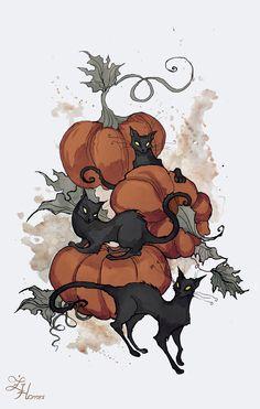 Halloween Kitties by IrenHorrors.deviantart.com on @DeviantArt