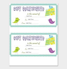 Sparrow Gift Certificate Sample  #giftcertificate #freegiftcertificatetemplates #printablegiftcertificate #blankgiftcertificates #editablegiftcertificatetemplate