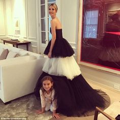 Ivanka Trump, 36, posed with her daughter Arabella before attending the 133rd Gridiron dinner. She wore a Carolina Herrera dress priced at $7,990