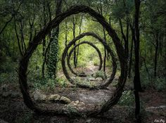 forest-land-art-nature by Spencer Byles. Organic Sculpture, Sculpture Art, Garden Sculptures, Geometric Sculpture, Metal Sculptures, Abstract Sculpture, Bronze Sculpture, Garden Art, Garden Design