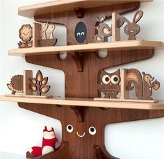 Woodland Bookshelf and Bookends. Your collection of fairy tales and stories about talking woodland creatures will be right at home on this adorable shelf.