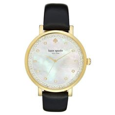 Women's Kate Spade New York 'Monterrey' Leather Strap Watch, 38Mm ($225) ❤ liked on Polyvore featuring jewelry, watches, black, kate spade jewelry, polish jewelry, kate spade, sparkle jewelry and kate spade watches