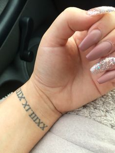 my gorgeous nails coffin Matte nude pink glitter