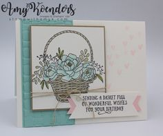 I used the Stampin' Up! Blossoming Basket stamp set bundle and the Basket of Wishes stamp set to create a birthday card to share with you today. My card design was inspired by Hand Stamped Se…