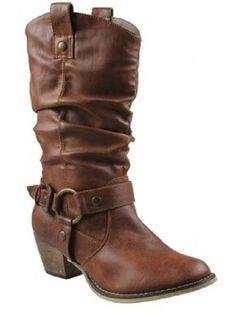 da3f4ae622e Boots Western Fashion Cowboy Style Cowgirl Women Slouch Faux Leather Tan  Womens Medium Width