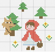 little red riding hood cross stitch pattern [ cappuccetto rosso punto croce ] Cross Stitch For Kids, Cross Stitch Baby, Cross Stitch Animals, Cross Stitch Charts, Cross Stitch Patterns, Cross Stitch Bookmarks, Cross Stitching, Cross Stitch Embroidery, Hand Embroidery