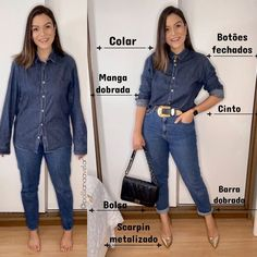 Mom Outfits, Casual Outfits, Fashion Outfits, Womens Fashion, Look Camisa Jeans, Classic Work Outfits, Friday Outfit, Clothing Hacks, Outfit Combinations