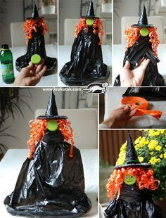 Witch, made of black bags and a bottle of mineral water :)