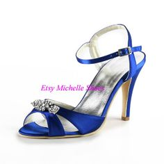 Size US 4--12 Fashion Blue Women's Open Toe Satin Rhinestones Wedding Evening Party Shoes Sandals Evening Heels