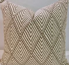 BOTH SIDES 20 x 20 pillow cover Lacefield Tahitian Stitch Tusk brown taupe cream diamond