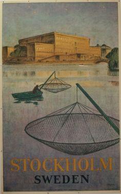 Stockholm Sweden, 1930s - original vintage poster listed on AntikBar.co.uk
