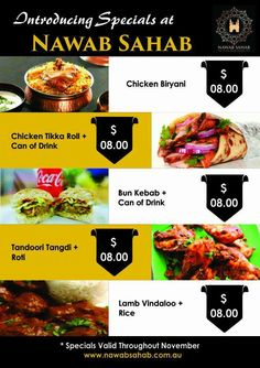 Starts today!!!! Introducing Specials for the month of November @Nawab Sahab Restaurant