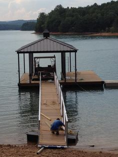 Pergola Connected To House Pergola With Roof, Pergola Shade, Patio Roof, Gazebo, Building A Dock, Roof Paint, Boat Lift, Hip Roof, Boat Dock