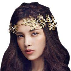 Dayiss® Gold Blättern Haarschmuck Strass Haarschmuck mit Perle Diamant Rhinestone-Kristall-Blumen-Brauthochzeits -Stirnband