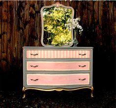 Pink and grey painted dresser, Michelle Hinley for Tampa Bay Parenting Magazine