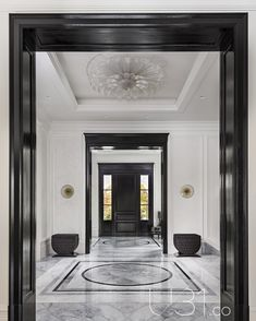 Hallway and Marble Floor Foyer Photo 1 of 15 in Country Estate by Design - N. Hallway and Marble Floor Foyer Photo 1 of 15 in Country Estate by Design – New House! Hallway Designs, Foyer Design, Lobby Design, House Design, Design Design, Entrance Design, Hall Design, Design Hotel, Entryway Flooring