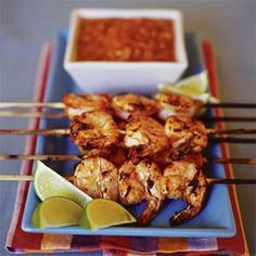 Lime and chipotle salsa add a fiery, tangy flair to these barbecued shrimp skewers. | Deviled Shrimp (Camarones a la Diabla)