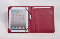 Real leather iPad case/iPad portfolio case leather with notebook space in dark red