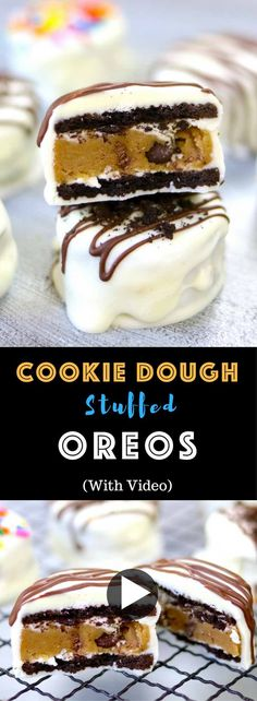 Cookie Dough Stuffed Oreos – creamy and rich chocolate cookie dough stuffed between oreos, and covered with white chocolate, then decorated with sprinkles. looks so elegant with two layers and tastes so delicious that you won't believe how easy it is to make! Quick and easy recipe. No bake, and easy snack. Video recipe.