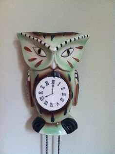 vintage Japanese ceramic owl cuckoo clock