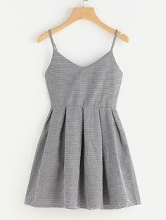 Gingham Print Box Pleated Cami Dress