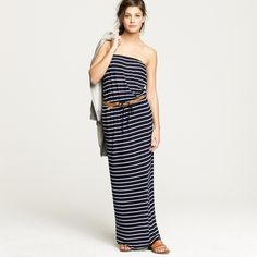 """[J. Crew] Amie Striped Maxidress Get free shipping! Offer $6 off listed price for automatic acceptance!  NWT striped Rayon/Spandex maxidress with drawstring waist. 56"""" long.   32414J J. Crew Dresses Strapless"""