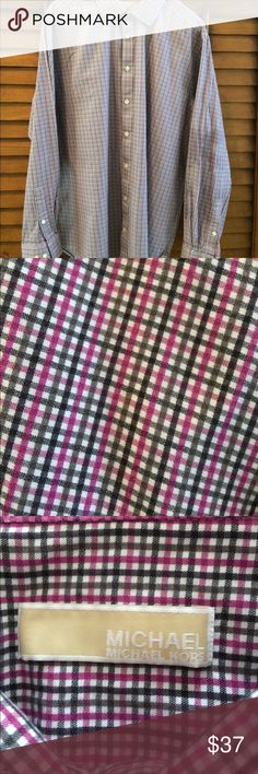 Michael Kors Classic Fit Cotton-Poplin. Small pink and gray check. Gorgeous shirt. If this is your size you will love it! MICHAEL Michael Kors Shirts Casual Button Down Shirts