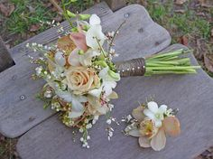 textured wedding bouquet - peach, white,
