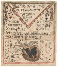 Birth Certificate (Geburtsschein) for Sara Reyer - Fraktur