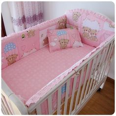 42.80$  Buy here - http://aliacm.shopchina.info/go.php?t=32381724492 - Promotion! 6pcs Pink baby crib bedding set crib set ropa de cuna cot set (bumpers+sheet+pillow cover) 42.80$ #aliexpresschina