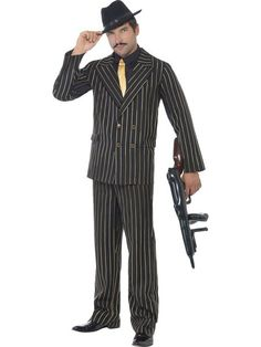 Order Gold Pinstripe Gangster Suit Costume for your Gangsters Fancy Dress Party. Mens costumes and film costumes instock now. Gangster Fancy Dress, Gangster Suit, 1920s Fancy Dress, Adult Fancy Dress, Halloween Fancy Dress, Costume Halloween, Gangster Party, Gangster Girl, Halloween Party