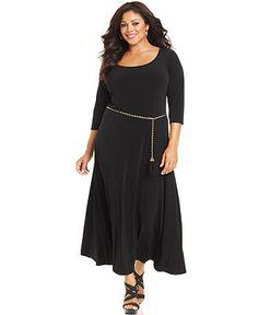 Calvin Klein Plus Size Dress, Three-Quarter-Sleeve Belted Maxi - Long Maxi Dresses - Plus Sizes - Macy's