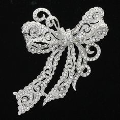 Rhinestone Brooches Crystals Clear Bow Bowknot Brooch Broach Pin Scarf Pins for Wedding Bridal Women Jewelry Free Shipping 5823 US $12.95
