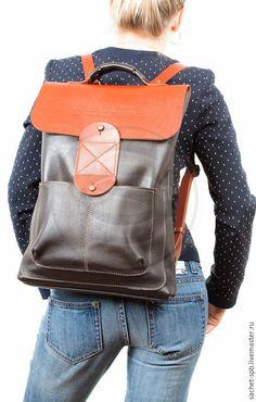 Купить Кожаный рюкзак Спэйс (чёрный с оранжевым) - черный, однотонный, кожаный рюкзак