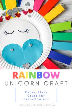 Whether you're doing a unit on the letter U or just looking for some fun this rainbow unicorn craft will fit the bill. Made from a paper plate and construction paper this craft is fun for kids in preschool and beyond who love unicorns. Paper Crafts For Kids, Easy Crafts For Kids, Toddler Crafts, Craft Stick Crafts, Preschool Crafts, Fun Crafts, Crafts Toddlers, Preschool Christmas, Preschool Themes
