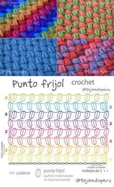Punto frijol o bean stitch tejido a crochet. Diagrama y video tutorial del paso a paso ;)