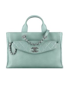 Large shopping bag, grained calfskin & lambskin-light green - CHANEL #chanel chanel