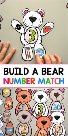 This adorable Build a Bear Number Match printable will help your kids build a strong number sense! This printable number match activity features bear pieces with a lot of colorful images, to make sure your kids stay engaged and also have a lot of fun pr Numbers Preschool, Math Numbers, Kindergarten Classroom, Teaching Math, Learning Centers Kindergarten, Kids Numbers, Number Sense Kindergarten, Literacy Centers, Teaching Resources