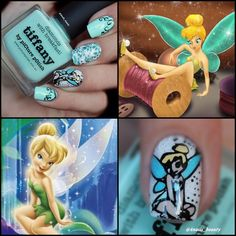 Tiffany Blue and Yellow Tinker Bell Nail Art.