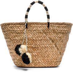 KAYU St Tropez Tote Bag (€110) ❤ liked on Polyvore featuring bags, handbags, tote bags, handbag purse, man bag, woven tote bags, tote handbags and straw purse