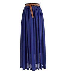 Retro Women's Chiffon Pleated Elastic Waist Long Skirt – USD $ 8.99