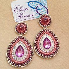 Bead Embroidery Jewelry, Beaded Jewelry, Beaded Embroidery, Handmade Jewelry, Diy Earrings Dangle, Paper Earrings, Beaded Earrings Patterns, Thread Jewellery, Craft Accessories