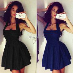 Women Lady New Sexy Black Sleeveless Backless Evening Party Bodycon Mini Dresses #BrandNew #StretchBodycon #Casual