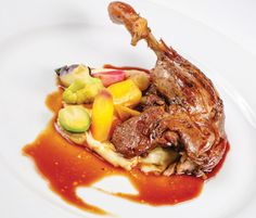 Canard au vin, parsnip puree, chef's garden root vegetables, duck demi-glace by Mereday's Fine Dining in Naples
