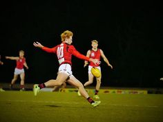 """Round 14 Essendon v Casey Demons @ Casey """"Very Out"""" Fields, 7pm Saturday 22 July 2017 - Francis unloads long up field."""